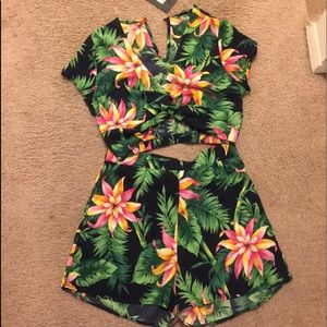 Floral Print Two Piece Set Summer Vacation